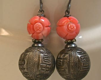 Vintage Carved Pink Angel Skin Coral Flower Bead Earrings,Antique Chinese Silver Shou Beads, Handmade Sterling Silver Ear Wires