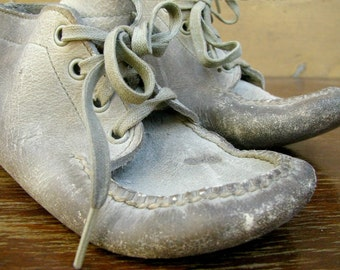 Vintage Shabby Toddler Baby Shoes Dirty White Worn Leather Rustic Home Nursery Decor