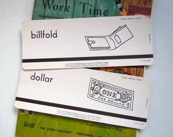 2 Vintage 1962 Flashcard Set Billfold and Dollar Flash Cards Man Cave Decor