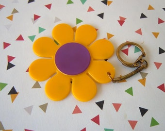 Vintage 1960's Yellow and Purple Flower Keychain Daisy Purse Accessory