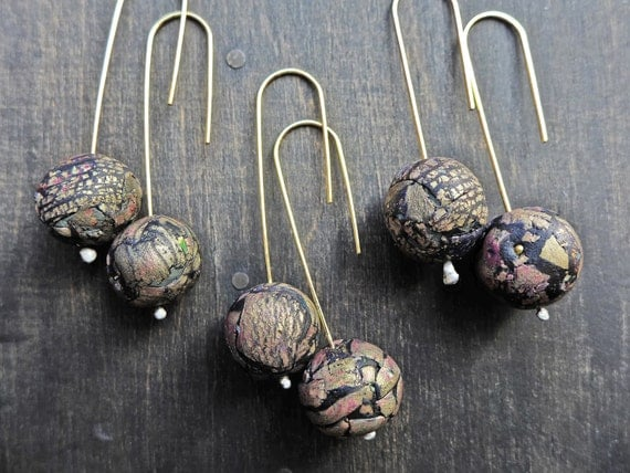 Minimal art bead earrings- handmade artisan jewelry by fancifuldevices -Rustic Contemporary series.