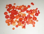 Assorted Orange Buttons, Plastic Buttons, Over 80 Buttons, Small to Medium, Round Buttons, Assorted Shades, Assorted Sizes, Sewing Supply