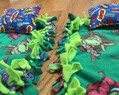 Custom order: Just 4 Dolls knotted fleece blankets, Just 4 Dolls pillows and TMNT knotted fleece blanket for child