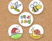 CLOSEOUT Cute As A Bug Sun Shine Mini Set of Magnets - Five 1 inch magnets 1""