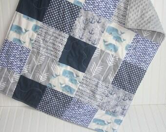 boy baby quilt- navy baby quilt- nautical baby quilt- baby boy bedding-minky baby quilt- whale baby quilt- anchor baby quilt- nautical baby