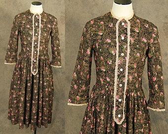 vintage 50s Dress - 1950s Toile Floral Novelty Print Day Dress Sz S