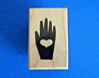 Hand with Heart Vintage Rubber Stamp Small 1983