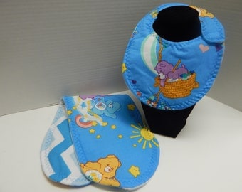 Newborn Bib and Burp Cloth Set Care Bears