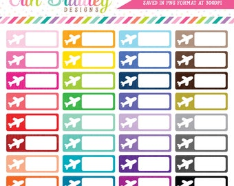 Travel Boxes Clipart, Label Clip Art Graphics, Personal & Commercial Use OK Plane Vacation Business Clipart Graphics