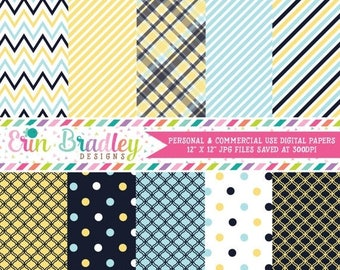 50% OFF SALE Yellow and Navy Blue Digital Paper Set Personal and Commercial Use