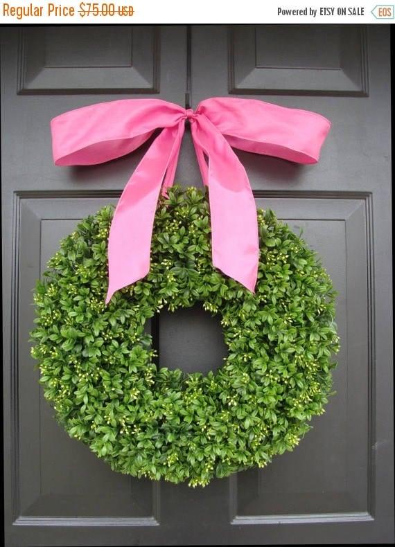 SPRING WREATH SALE Boxwood Wreath- 16 inch Summer Wreath- Girl's Nursery Decor- Pretty in Pink- Girl Decor- Princess Decor- Princess Wreath