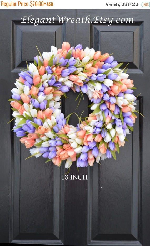 SPRING WREATH SALE Spring Wreath- Tulip Spring Wreath- Summer Wreath- Custom Summer Door Wreath