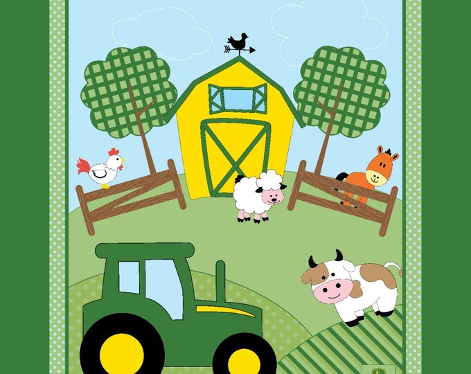 Children's Fabric, John Deere Barn Yard Cotton Panel 35 x 44 inches