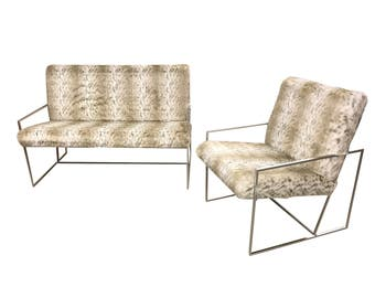 Modern Loveseat and Chair Steel Frame Sofa and Chair Silver Frame Leopard Print