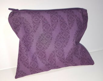 Purple Zipper pouch, lined, ANYTHING bag, cosmetics, Toiletry bag, travel, soft lined pouch
