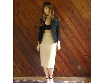 extra 30% off sale . . . 60s Golden Sand High Waist Pencil Skirt - Vintage - S/M 4