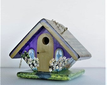 Small Purple and Tan Birdhouse , Handmade , Hand Painted , Lots of Flowers , with Clean Out