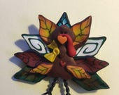 Thanksgiving Turkey With Wire Legs Pin/Brooch Polymer Clay Jewelry