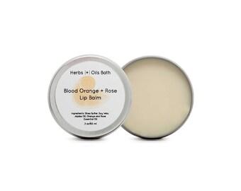 Rose + Blood Orange. Lip Balm. Natural Skincare. Shea Butter. Jojoba Oil. Essential Oil. Natural.