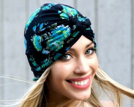 1940s Turban Hat Chemo Cap Skullcap Chemo Turban Beach Hair Wrap Head Scarf Full Turban Green Floral Retro Floral Accessory Summer Turban