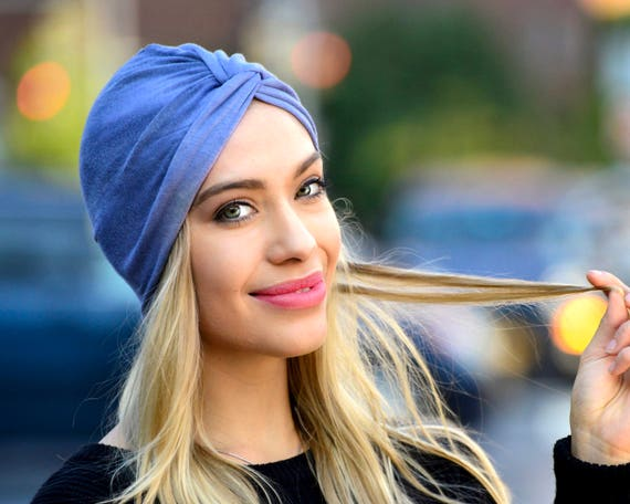 Women's Turban Hat Blue Stretch Turban Hair Scarf Beach Turban Head Covering Spring Accessories Chemo Turban Hair Wrap Bohemian Chic Style
