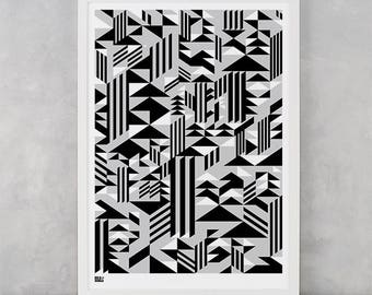 Geometric Screen Print, Higher Screen Print, Geometric Wall Art, Geometric Wall Poster, Geometric Pattern