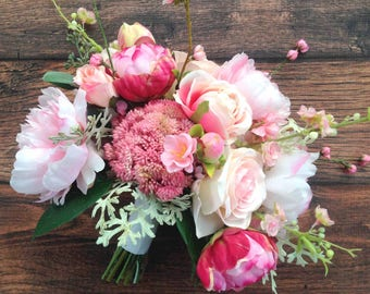 Blush Pink & Hot Pink Boho Wedding Bouquet, with Cherry Blossoms...Ready to Ship!
