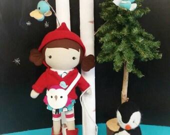 """Handcrafted STUDIO DOLL 15"""" - Girl in the Hooded Jacket. Handmade, Doll, Girl, Toy, Plush, Children, Gift, Penguin"""
