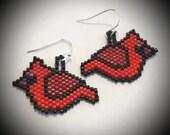 Cardinal Earrings - Handmade - Fine Beaded  - Ready To Ship