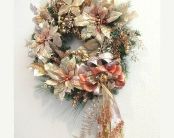 SALE Victorian Christmas Wreath in Rose Gold and Light Rust with Butterfly ornament and elaborate Beaded Fringe Bow