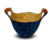 Handmade Wood Vessel - Primitive Dreams - Wood Bowl - Blue