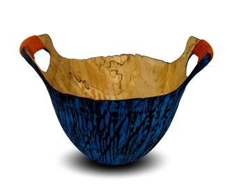 Handmade Wood Vessel - Primitive Dreams - Wood Bowl - Blue