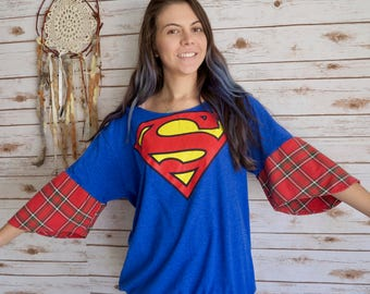 Superman Comic Blue Red Off The Shoulder Boho Plaid Bell Sleeve Elastic Waist Tee Top One Size Geek Gift