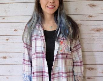 Patchwork Denim Plaid Boho Button Up Shirt Top Hippie Bohemian OOAK Womens Clothing Size Medium