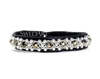 SwedArt B100 Glittertind Sami Leather Bracelet, Swarovski Gold Crystals, Sterling Silver Beads, Pewter Button, Black SMALL
