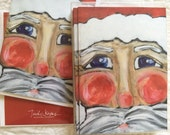 Santa Face painting! Pack of 10 Christmas Cards blank inside