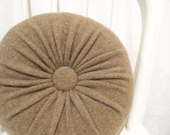 Small Brown Decorative Pillows : Nursery Decor Light Brown Cashmere Round Throw Pillow Nursery