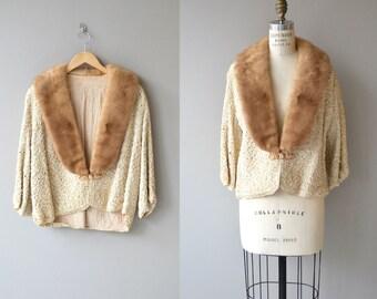 Dremella mink collar jacket | vintage 1950s ribbon jacket | mink fur collar 50s jacket