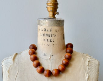 Wooden Sphere necklace | vintage chunky wooden necklace | wood bead necklace