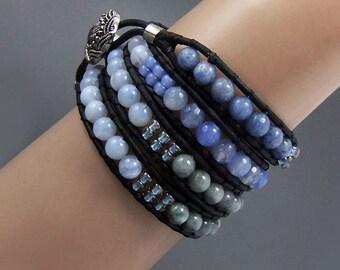 Pale Blue Chalcedony Beaded Leather Wrap Bracelet Handmade Sodalite Agate,Labradorite,Ladder Bracelet,4x wraps