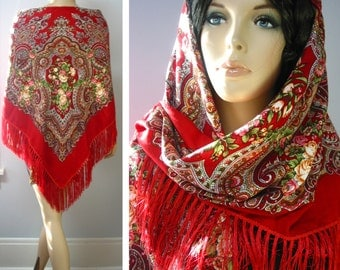 "Russian Wollen Floral Shawl Vintage ""Babushka"" style Red  #100-6, Shipped from USA,140cm/55"""