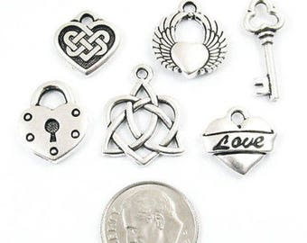 TierraCast Pewter Charms-Silver Heart Love Mix (6 Pieces)