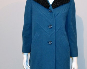 Vintage Wool Coat Turquoise with Poodle Fur