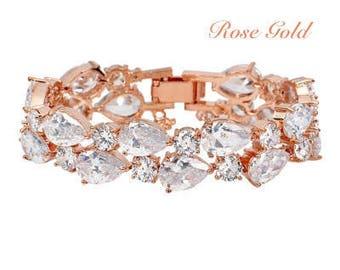 Rose gold crystal bracelet wedding cuff bracelet Vintage style wedding Art Deco bracelet silver bridal bracelet Art Deco