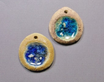 Sparkling Glass Pool Pendants, Textured Stoneware with Recycled Glass, Choose from Cobalt Blue or Deep Aqua with Iron Stain
