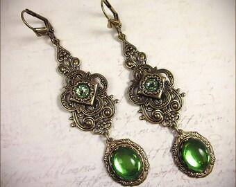 Renaissance Earrings, Peridot Green, Queen, Tudor, Costume, Medieval, Ren Faire, SCA Garb, Borgias, Bridal Jewelry, Your Choice of Color