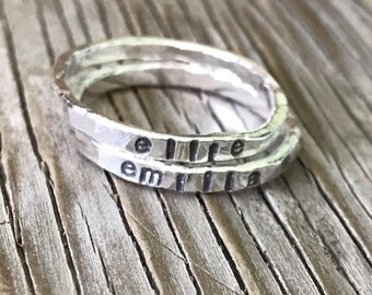 Custom stamped jewelry ONE Ring stackable ring, hand stamped fine silver stacking ring, silver wedding band handmade-mom Mother's Day gift