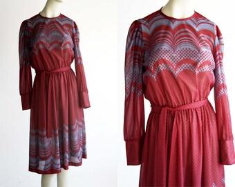 Franky B. Sheer Mod Maroon Belted Slip on Woman's Vintage Retro Long Sleeve Elastic Waist Day Dress