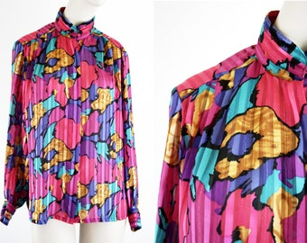 Yves St. Clair Vintage Bright Fuschia, Teal, and Yellow Abstract Print Mock Neck Long Sleeve Sheer Woman's Blouse