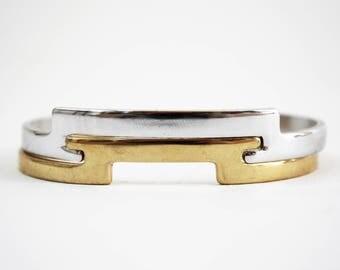 Avon Bracelet Vintage Avon Jewelry Stacked Bracelets Two Tone Bracelet Mixed Metal Bracelet Art Deco Bracelet Angle Cuff Geometric Bracelet